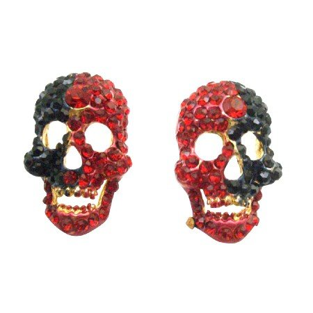 HH248 Head Skull Earrings Fully Encrusted w/Siam Red & Jet Crystals On Golden Metal Golden Teeth