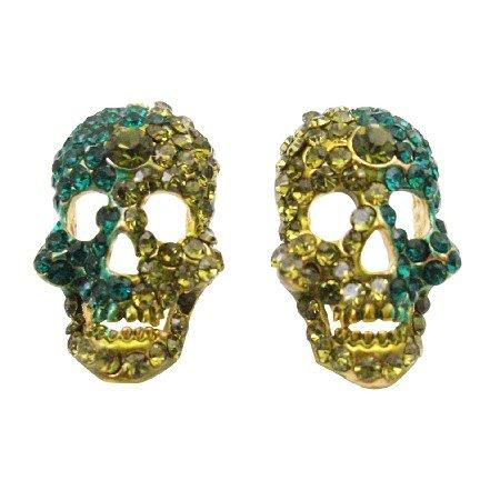 HH246 Skull Earrings Encrusted w/Peridot & Blue Zircon Crystals On Golden Metal Skull