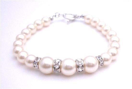 TB043  New Arrival Fashion Jewelry In Genuine Swarovski Ivory Pearls Bracelet