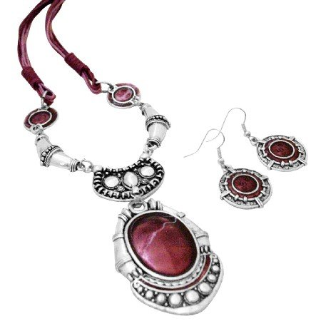 NS994  Enamel Ruby Painted Ethnic Artform Pendant & Earrings Set