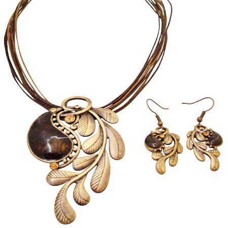 NS996  Creative Jewelry In Brass With Brown Stone Embedded Party Wear Jewelry