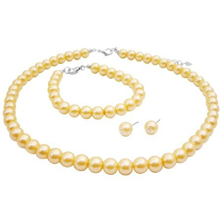 NS981  Yellow Pearls Bridemaids Jewelry Set Necklace Earrings & Bracelet Set
