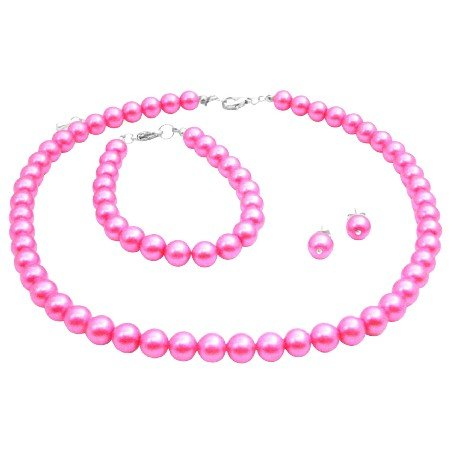 NS982  Hot Pink Pearls Jewelry Set Wedding Color Necklace Earrings & Bracelet Set