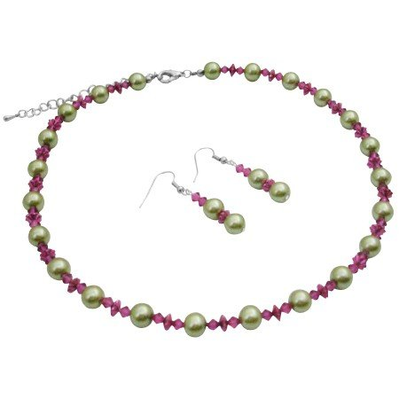 NS992  Match Your Dress Combo Lime Green & Fuschia Crystals Jewelry Set