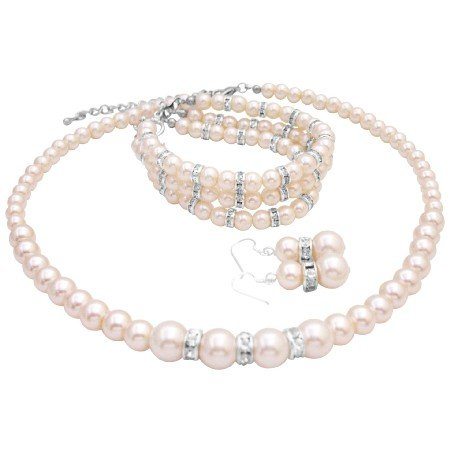 NS007  Elegant Pearls Wedding Jewelry Ivory Pearls Bridal Jewelry With 3 Stranded Bracelet