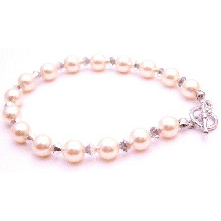 TB083  Designer Bridemaids Jewelry Bracelet Ivory Pearls Comet Crystals