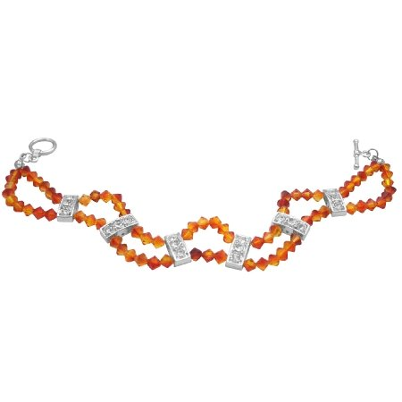 TB096  Fall Jewelry Fire Opal Swarovski Crystals Double Stranded Diamante Bracelet
