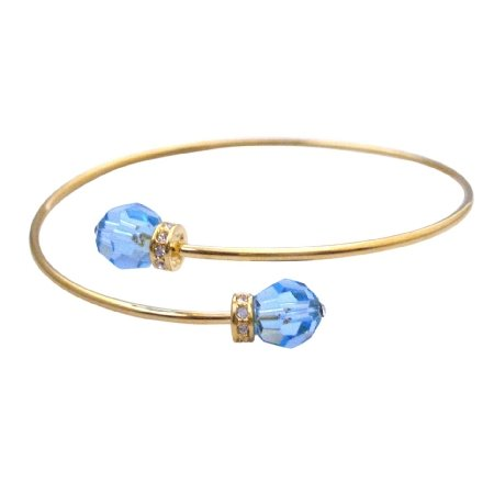 TB097  Gold Cuff Bracelet Aquamarine Crystals Affordable Gift Gold Jewelry