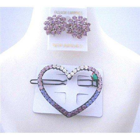 HA189  Heart Hair Barrette Ametheyst Crystals Barrette w/ Crystals Earrings