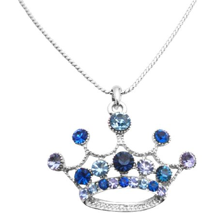 HH267  Crown Pendant Necklace Lite & Dark Blue Crown Designed Necklace