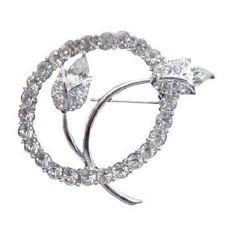 B020  Vintage Tulip w/ Simulated Diamond In Circle Pin Brooch Beautiful