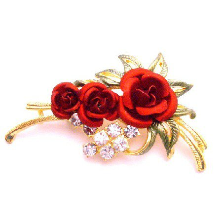 B505  Express Your Love Anytime w/ Red Rose Brooch Enamel Beautiful Leaves