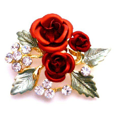 B504  Gift Red Rose Bouquet Brooch Birthday Christmas Holiday Gifts Expressive Gift