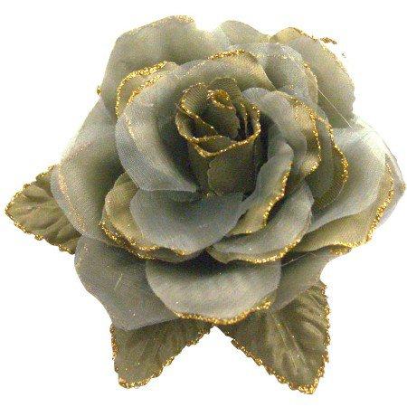 B540  Olive Green Layered Organza Flower Brooch Pin