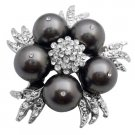 B566  Match Your Brooch With Dark Grey Dress Pearls Brooch
