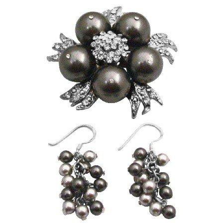 B567  Pearls Brooch And Earrings Set Grey Pearls Set