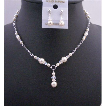 BRD675  Custom Bridal Jewelry Ivory Pearls AB Crystals Drop Down Necklace Set