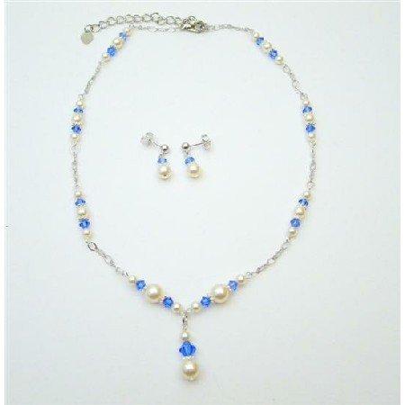 BRD788  Handmade Jewelry Genuine Swarovski White Pearls Sapphire Crystals Set