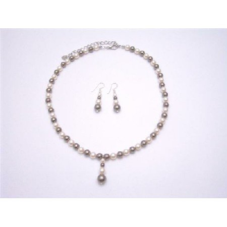 BRD796  Swarovski Brown And Ivory Pearls Bridal Bridemaids Jewelry Set