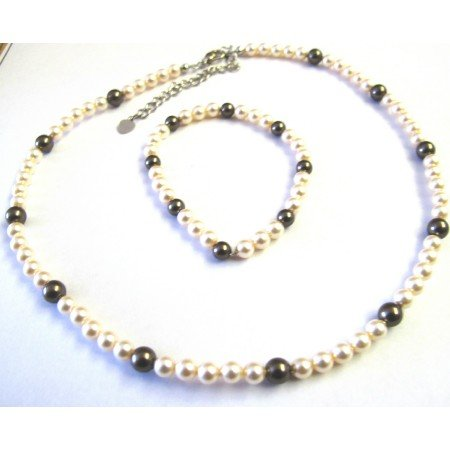 BRD450  Flower Girl Swarovski Pearls Jewelry Ivory & Brown Swarovski Pearls Necklace & Bracelet