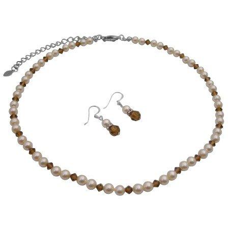 BRD795  Genuine Swarovski Ivory Pearls & Smoked Topaz Crystals Wedding Jewelry Set