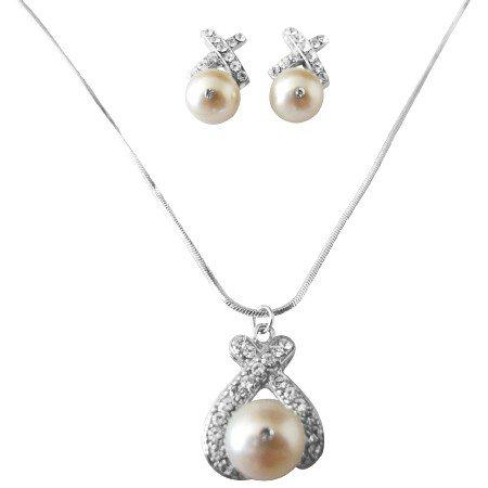 BRD972 Genuine Swarovski Ivory Pearls 10mm Pendant Earrings Jewelry Set