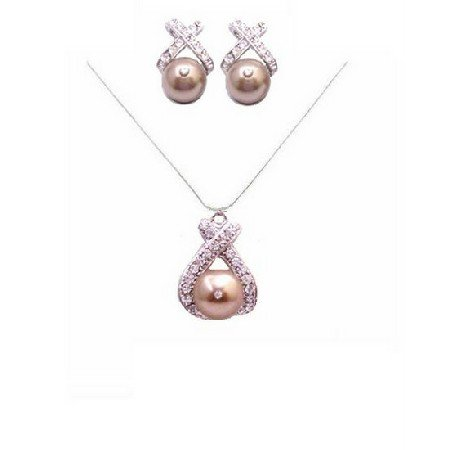 BRD873  Bronze Swarovski Pearls Pendant & Stud Earrings Sarkling Simulated Diamond Set