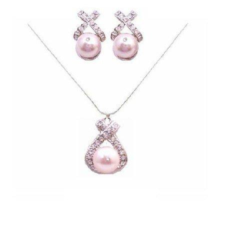 BRD821  Rose Pink Pearls Swarovski Pearls Jewelry Set Pendant and Earrings Set