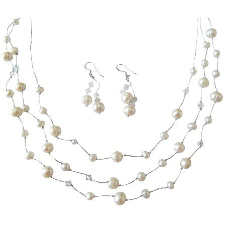 BRD843  Three Stranded Silk Thread White Pearls w/Clear Crystals Bridal Bridemaids Jewelry Set