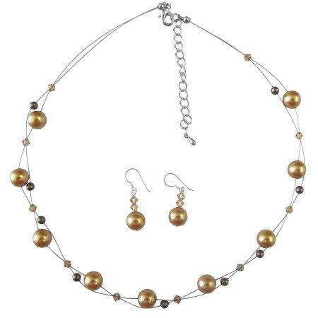 BRD055  Harvest Gold Brown Pearls & Lite Colorado Crystals Bridal Jewelry