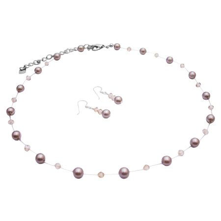 BRD056 Platinum Champagne Pearls Golden Shadow Crystals Necklace Jewelry Set