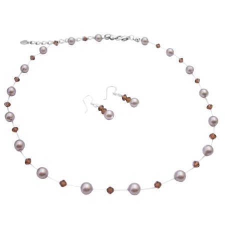 BRD057 Wedding Jewelry Fashion Jewelry Platinum Pearls Smoked Topaz Crystals