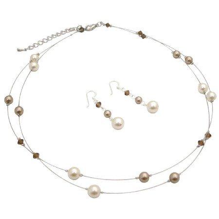 BRD159  Illusion Bridesmaid Bronze Cream Pearls & Smoked Topaz Crystals Set