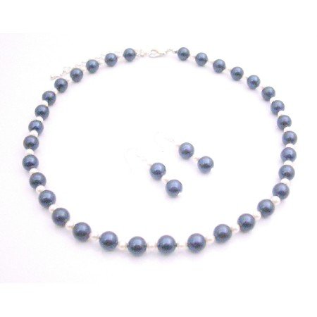 BRD170  Jewelry Set Attractive Color Night Blue Pearls w/ White Pearls Set