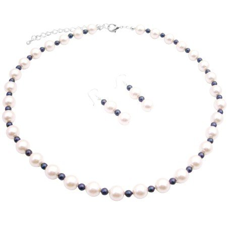 BRD171  Classic to Modern Chic Wedding Affordable White Pearls W/ Night Blue
