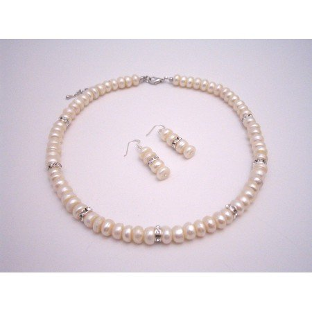 BRD188  Bridal Bridesmaid Jewelry Sets Ivory Freshwater Pearls Diamond Spacer