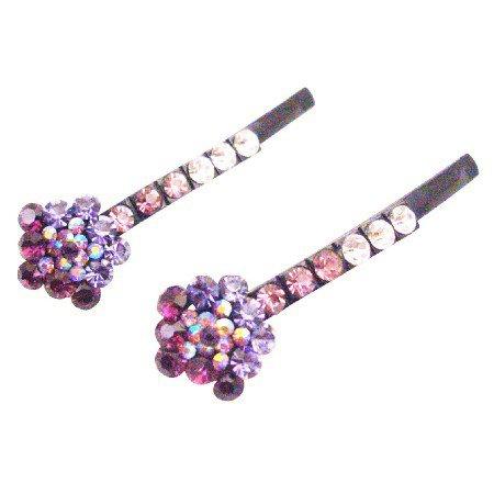 HA609  Flower Hair Pin With Smashing Amethyst Lite Dark Inexpensive Pin