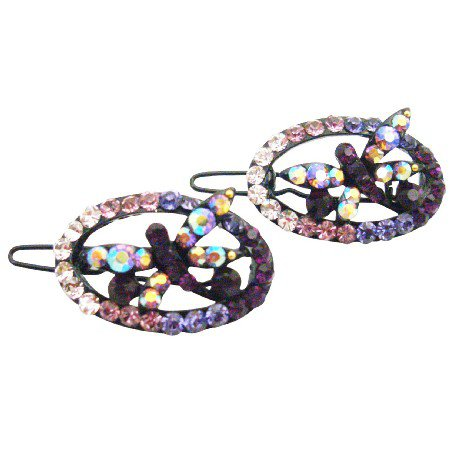 HA618  Butterfly Crystals Hair Barrette Amethyst Crystals