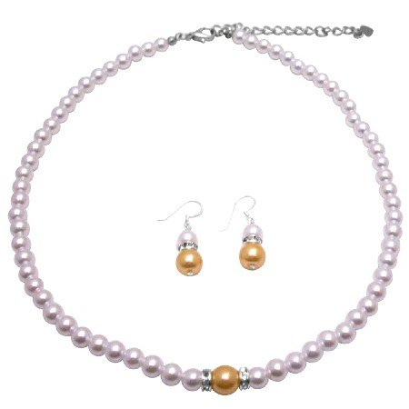 NS989  Bright Gold Pearls With White Pearls Affordable Bridemaids Jewelry