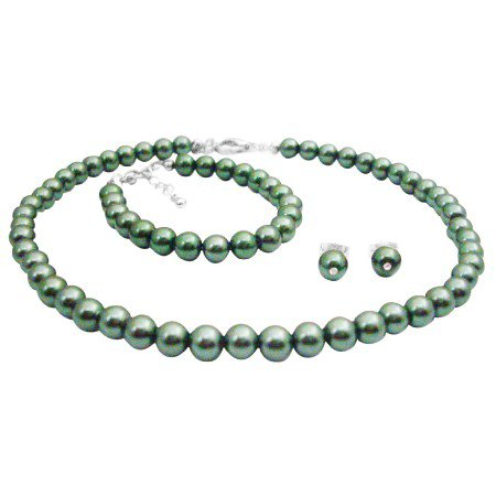GC247  Baptism Gift Beautiful Jewelry Green Pearls Necklace Earrings Bracelet