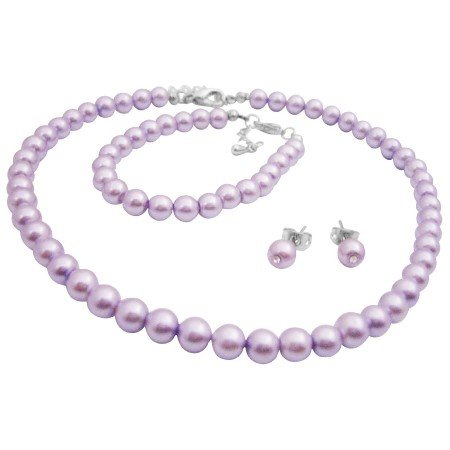 GC253  Gorgeous Smashing Stylish Pearls Jewlery Complete Set in Purple Color