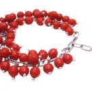 TB999  Artisan Creative Jewelry Red Beads Linked Together Cluster Bracelet Sexy Color