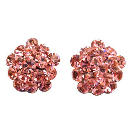 ERC678  Christmas Gift Sparkling Pink Crystals Flower Earrings