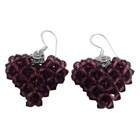 ERC679  Amethyst Known As The Color Of Royalty Adorable Puffy Heart Earrings