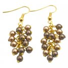 ERC682  Gold 22k Plated Earrings Bronze and Brown Wedding Earrings