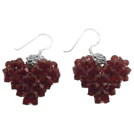 ERC689  Beautiful Gift To Your Love One Siam Crystals Puffy Heart Earrings Sterling Silver Hook