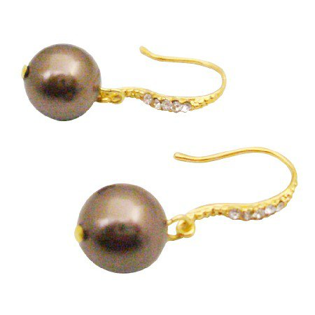 ERC691  Finest Pearls Earrings In Brown Swarovski Pearls Dangling 22k Gold Plated