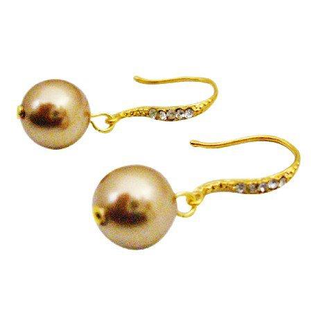 ERC693  Pearls Drop Earrings Genuine Swarovski Bronze Gold Earrings