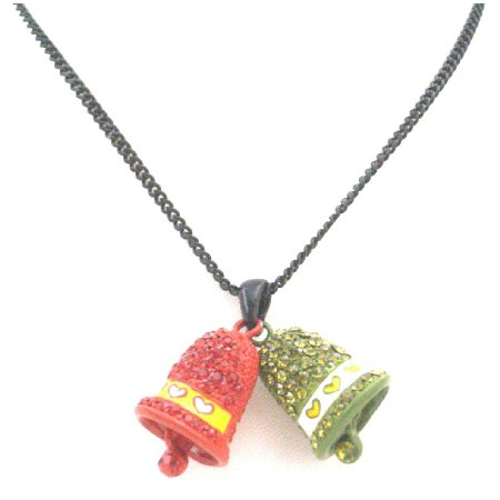 N924  Jingle Bell Pendant Red Green Crystals With Bell Dangling Christmas Jewelry