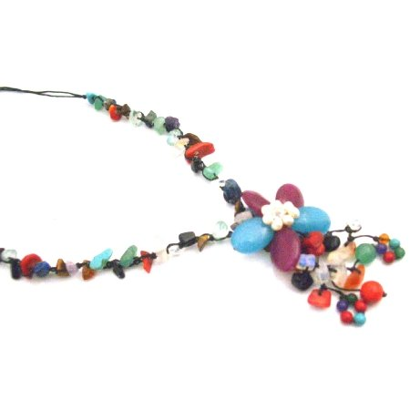 N935  Multicolor Nugget Fashion Jewelry Flower Tassel Stylish Classy Necklace